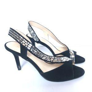 Nine West Giulia Black Suede Heeled Sandals 6 M